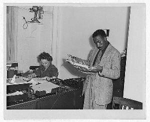 Gordon Parks at FSA Office, Washington, DC, 1943. (FSA)